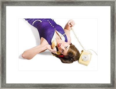Cool Pin-up Girl Making Conversation On Telephone Framed Print by Jorgo Photography - Wall Art Gallery