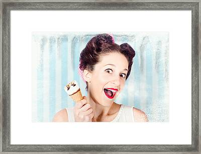 Cool Pin-up Woman In Cold Freezer With Ice-cream Framed Print