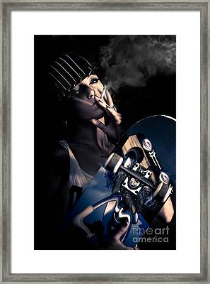 Cool Smoking Woman With Skateboard Framed Print
