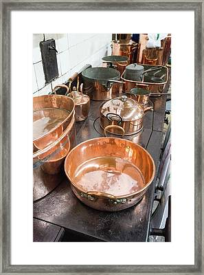 Copper Pots And Pans Framed Print by Ashley Cooper
