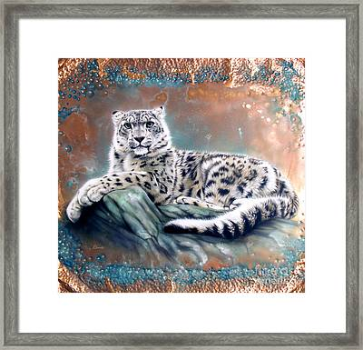 Copper Snow Leopard Framed Print by Sandi Baker