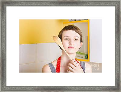 Copyspace Portrait Of A Cooking Girl With Spoon Framed Print by Jorgo Photography - Wall Art Gallery