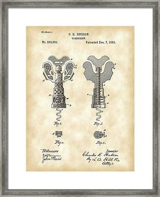 Corkscrew Patent 1886 - Vintage Framed Print by Stephen Younts
