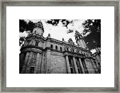 Correos Y Telegrafos Phone And Telegraph Central Post Office Building Barcelona Catalonia Spain Framed Print by Joe Fox