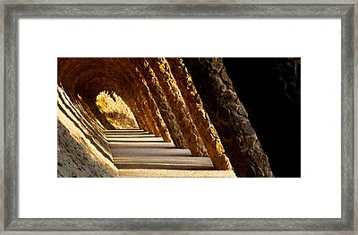 Corridor In A Park, Park Guell Framed Print by Panoramic Images