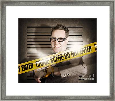 Corrupt Business Man Behind Crime Scene Tape Framed Print by Jorgo Photography - Wall Art Gallery