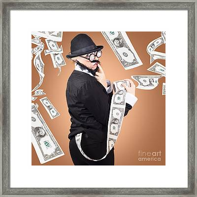 Corrupt Business Man Money Laundering Us Dollars Framed Print by Jorgo Photography - Wall Art Gallery