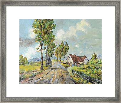 Framed Print featuring the painting Cottage On Poplar Lane by Mary Ellen Anderson