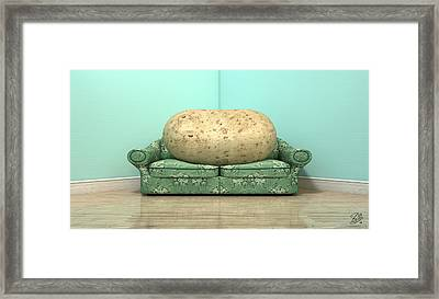 Couch Potato On Old Sofa Framed Print