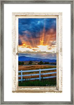 Country Beams Of Light Barn Picture Window Portrait View  Framed Print
