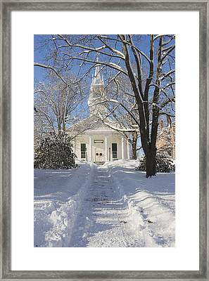 Country Church In Winter Wiscasset Maine Framed Print