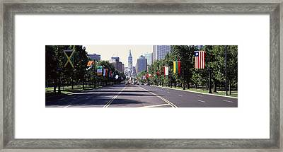 Country Flags On Trees Along Martin Framed Print by Panoramic Images