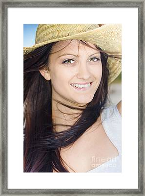 Country Woman In Cowgirl Hat Framed Print by Jorgo Photography - Wall Art Gallery
