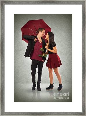 Couple And Umbrella Framed Print by Carlos Caetano