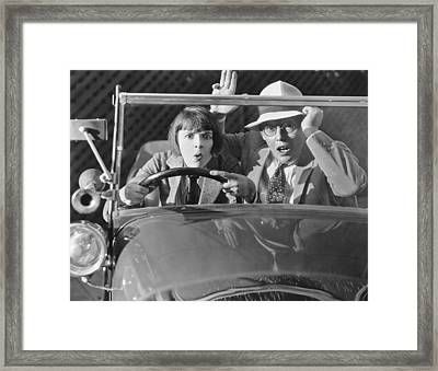 Couple Out For A Ride Framed Print by Underwood Archives