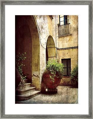 Courtyard In Capri Framed Print