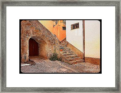 Courtyard Of Old House In The Ancient Village Of Cefalu Framed Print by Stefano Senise