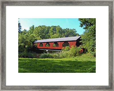 Framed Print featuring the painting Covered Bridge by Debra Crank