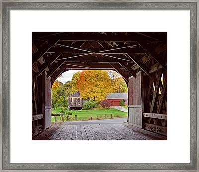 Covered Bridge In Autumn Framed Print