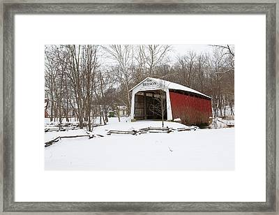 Covered Bridge In Snow Covered Forest Framed Print by Panoramic Images