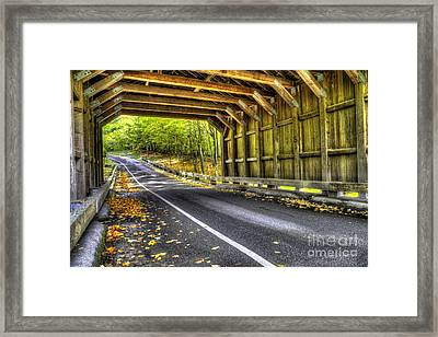 Covered Bridge On Pierce Stocking Scenic Drive Framed Print by Twenty Two North Photography