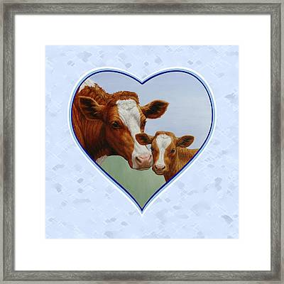 Cow And Calf Blue Heart Framed Print