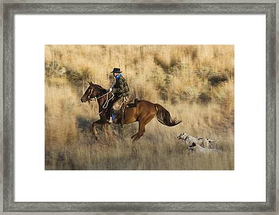 Cowboy Riding With Dogs Oregon Framed Print