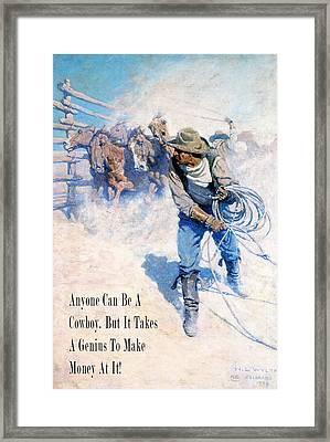 Cowboy Roping Wild Horses Framed Print