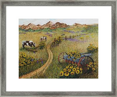 Cows Grazing Framed Print by Katherine Young-Beck