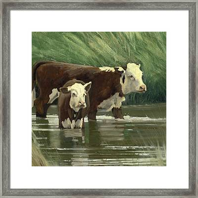 Framed Print featuring the painting Cows In The Pond by John Reynolds