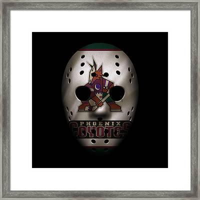 Coyotes Jersey Mask Framed Print by Joe Hamilton