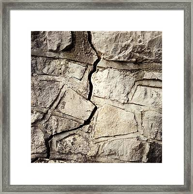 Cracked Wall Framed Print by Les Cunliffe