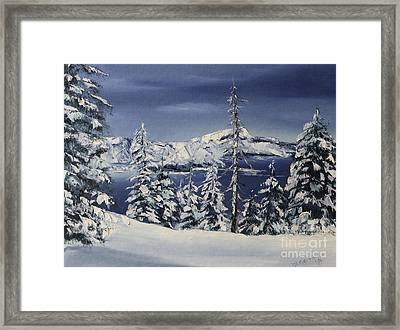 Crater Lake Framed Print by D L Gerring