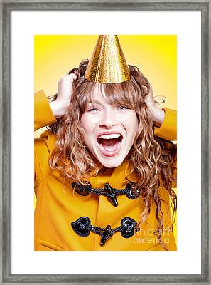 Crazy And Overjoyed Party Girl Framed Print by Jorgo Photography - Wall Art Gallery