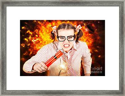 Crazy Business Worker Under Explosive Stress Framed Print