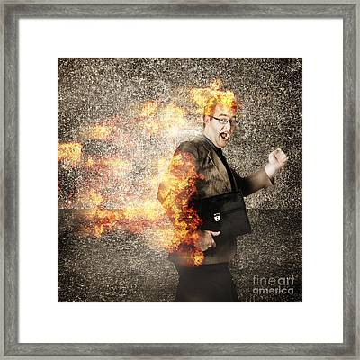 Crazy Businessman Running Engulfed In Fire. Late Framed Print by Jorgo Photography - Wall Art Gallery