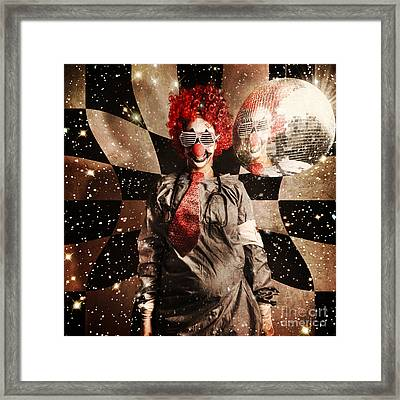 Crazy Dancing Disco Clown On A Psychedelic Trip Framed Print