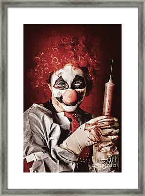 Crazy Medical Clown Holding Oversized Syringe Framed Print