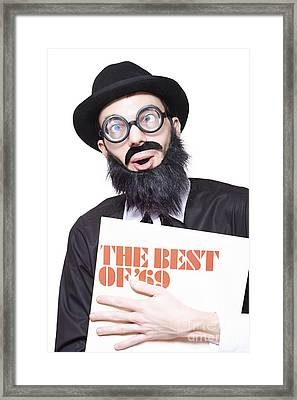Crazy Old Rock And Roll Man Holding Vinyl Record Framed Print by Jorgo Photography - Wall Art Gallery