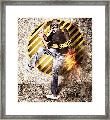 Crazy Rocket Science Man Launching  Framed Print by Jorgo Photography - Wall Art Gallery