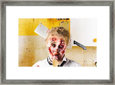 Crazy Sick Monster Eating Gmo Food Framed Print by Jorgo Photography - Wall Art Gallery
