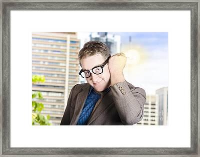 Creative Businessman With Lit Light Bulb Framed Print by Jorgo Photography - Wall Art Gallery