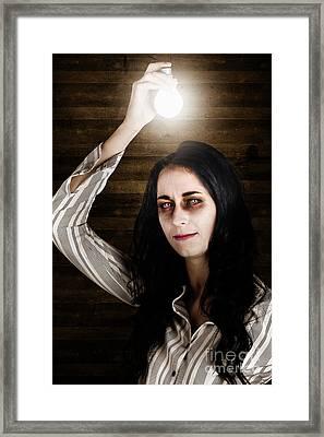Creepy Attic Girl With Bright Halloween Ideas  Framed Print