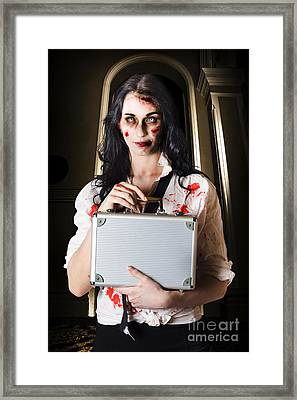 Creepy Late Businesswoman Dissolving Dead Business Framed Print by Jorgo Photography - Wall Art Gallery