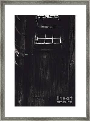 Creepy Open Horror Window In The Dark Shadows Framed Print