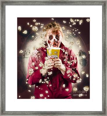 Creepy Possessed Girl Watching Horror Movie Framed Print