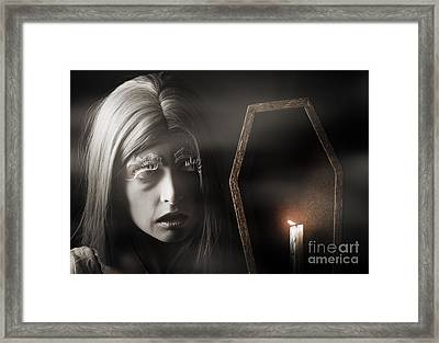 Creepy Vampire Woman With Light In Ghost Forest Framed Print by Jorgo Photography - Wall Art Gallery