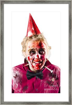 Creepy Woman In Halloween Costume Framed Print