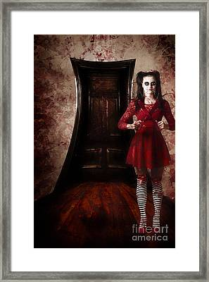 Creepy Woman With Bloody Scissors In Haunted House Framed Print