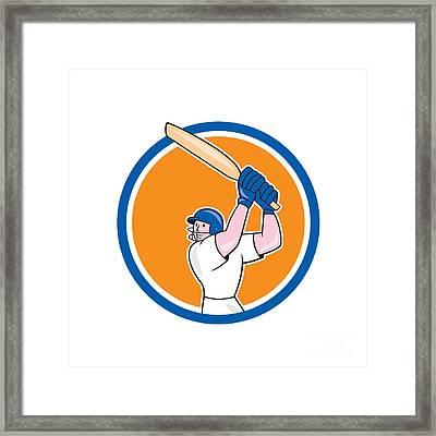 Cricket Player Batsman Batting Circle Cartoon Framed Print